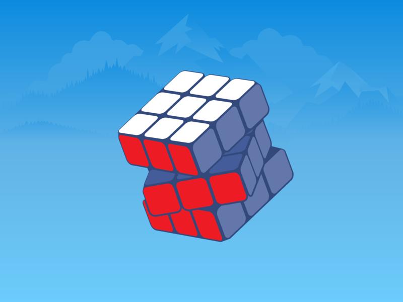 Rubik's cube cartoon vector art flat illustrator illustration design