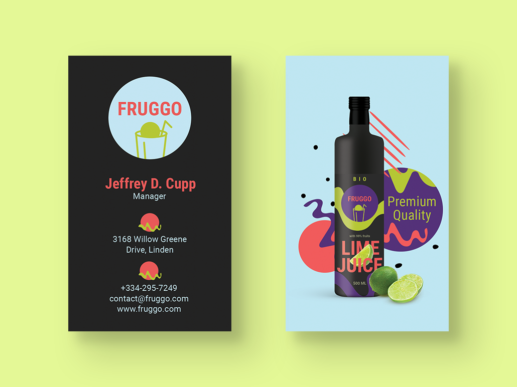 Juice Producer Business Card creativity ideas business template personal business cards personal card business card template brand identity material brand graphic design creative design business cards business card fruits organic manufacturer organic business card juice maker juice
