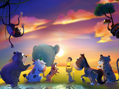 Alfie and Haathi return home from their adventures storytelling app character design childrens book illustration