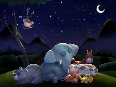 Good night and sweet dreams app character design storytelling childrens book animation illustration