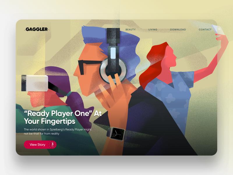 The Gaggler Featured Story Spotlight - Virtual Reality editorial illustration website hero image illustration