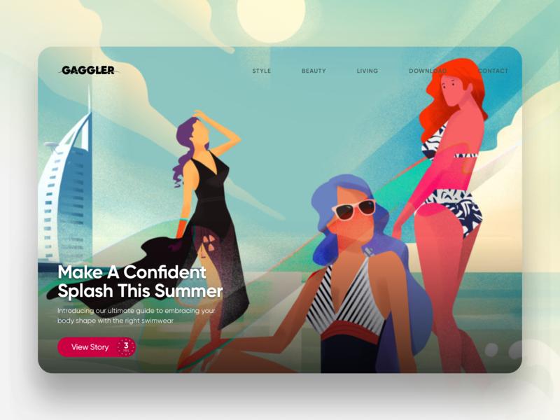 The Gaggler Featured Story Spotlight - Swimwear website hero image editorial illustration illustration