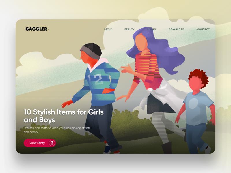 The Gaggler Featured Story Spotlight - Kids Fashion hero image website editorial illustration illustration