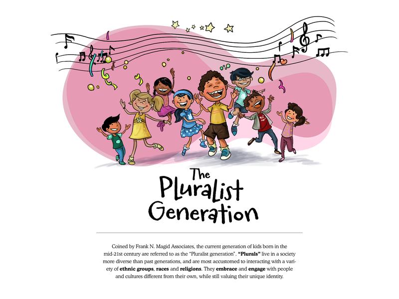 The Pluralist Generation doodle art educational publishing educational illustration education website vector website design editorial illustration character design illustration