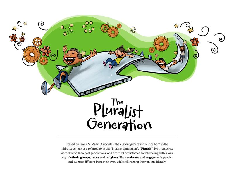 The Pluralist Generation - 5 doodle art educational illustration educational publishing branding vector website editorial illustration design character design illustration