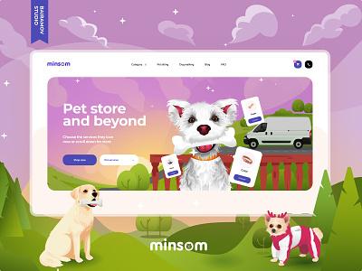 Online store for pets adobe xd web development web design food illustration bairamov.studio ux ui web site pets animals eccomerce online store web design