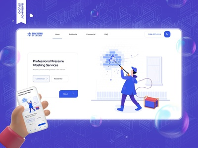 Cleaning service from Chicago uiux black star washing service interface interaction bairamov.studio web design website ui design ui ux cleaning company