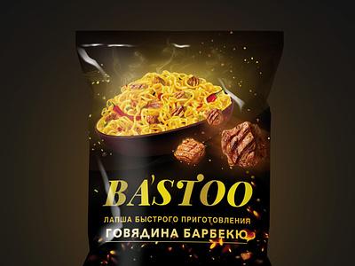 packaging instant noodles bairamov.studio graphic design black steak food eat meat noodles packaging