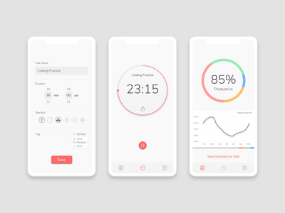 Smart timer to block distractions pomodoro procrastination app concept uiux ux design uidesign distraction time management timer