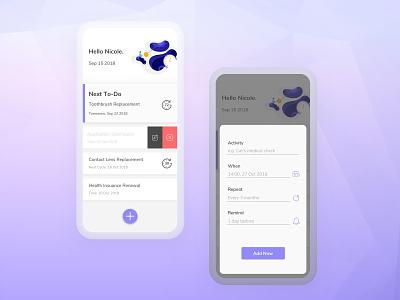 Periodical Timer todo app todo alarm reminder time management design app concept