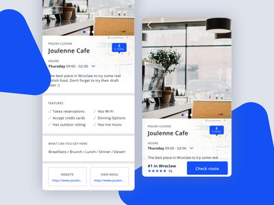 Cafe Full Page mobile app rate cafe restaraunt route product page design ui ux design divante