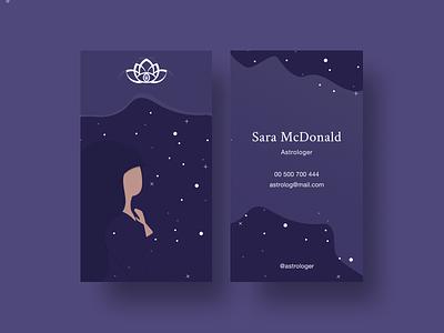 Branding for Astrologer business design girl illustration lotus lotus flower galaxy divante stars night sky sky card business card branding ui illustration