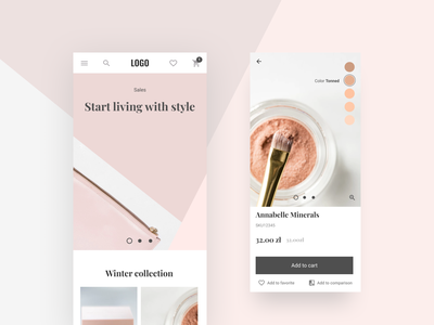 Cosmetic eCommerce mobile shop product page homepage branding beauty cosmetics ecommerce design app ux design ui divante