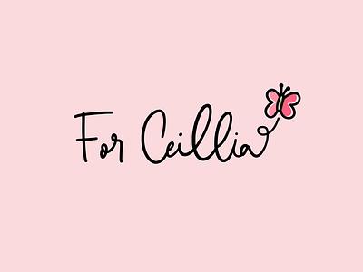 For ceillia - butterfly logo custom lettering vector illustration