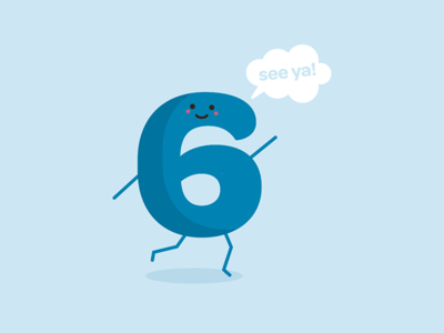Six happy cartoon character running number six