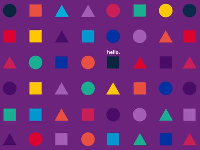 Hello colourful type hello triangle square circle shape pattern colour
