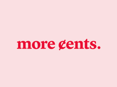 more cents  red pink education cents money finance logo