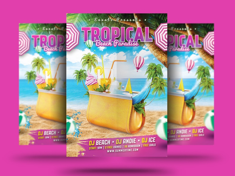 Tropical Beach Flyer summer poster summer party summer holiday summer event summer car summer sky sea psd poster party flyer party nightclub island flyer club beach party beach holiday beach flyer beach