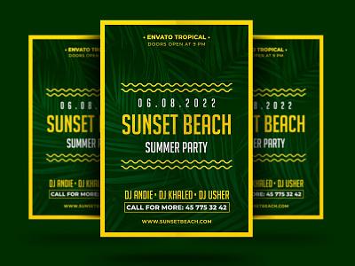 Sunset Beach Flyer spring psd poster party palm nightclub music modern holiday flyer festival event dance concert cocktail club beach party beach bar ads