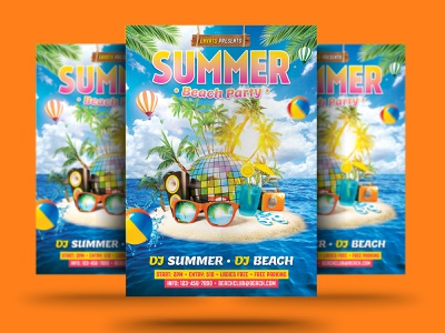 Summer Beach Party summer poster summer party summer holiday summer event summer car summer sky sea psd poster party flyer party nightclub island flyer club beach party beach holiday beach flyer beach