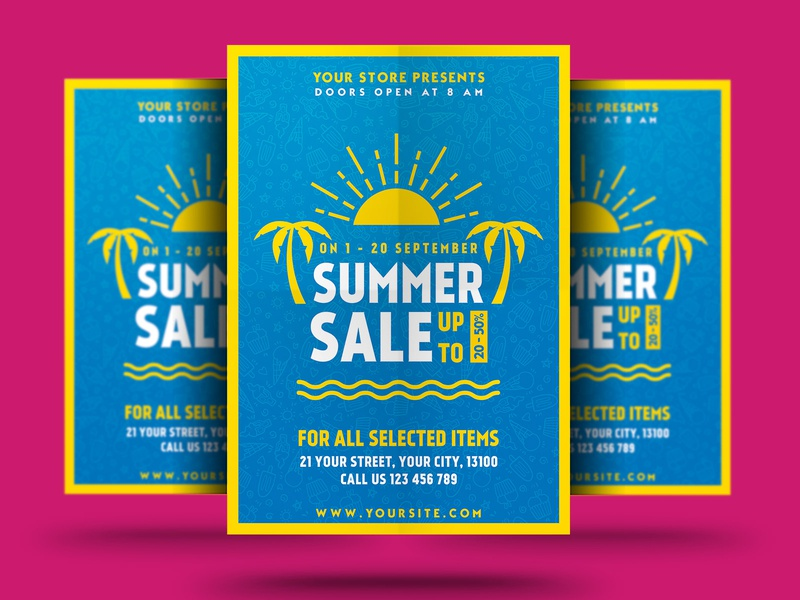 Summer Sale Flyer shop sale flyer sale psd promotion promo poster modern market holiday flyer fashion event electronics discount big sale flyer big sale beach advert ads