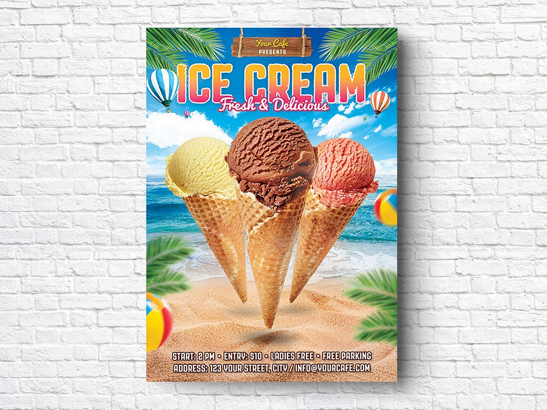 FREE Ice Cream Flyer tropical sweet summer sea promo poster post party palms ice fun flyer event cream candy beach concert beach ice cream flyer ice-cream ice cream