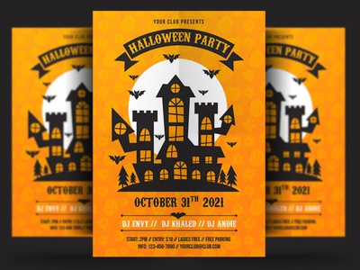 Halloween Party Flyer dribbbleweeklywarmup october night horror holiday haunted halloween poster halloween party halloween flyer halloween ghost flyer event dark creepy costume party costume club bundle blood