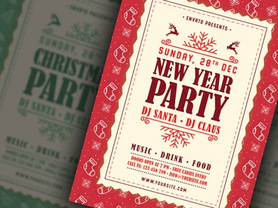 Merry Christmas & New Year Party Flyer