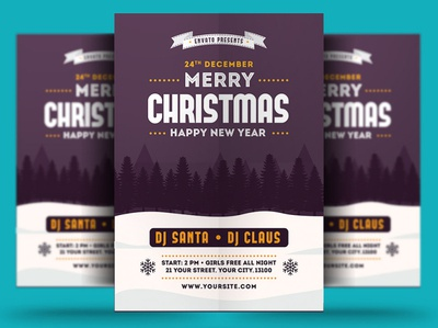 Merry Christmas New Year Flyer Template