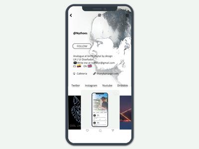 Instagram UI Concept profile iphone x minimal social dribbble ios gradient ui motion instagram gallery feed