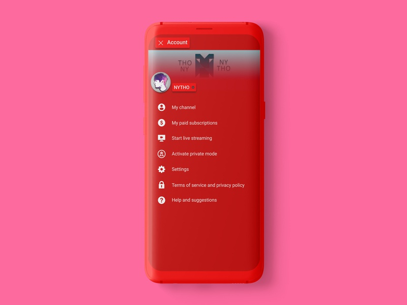 Youtube Red Theme Concept concept app theme profile youtube channel android app red select user type account youtube android