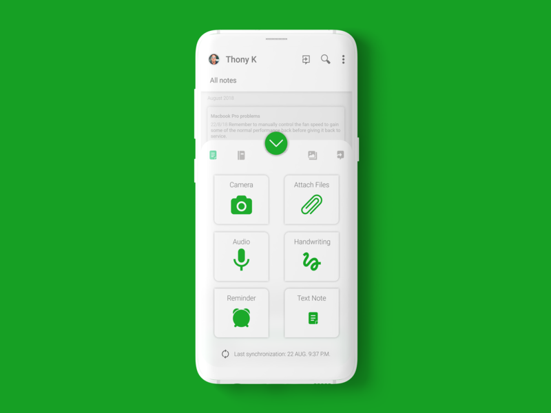 Evernote Android App | Redesign white new mockup menu design buttons menu evernote options design android app account android profile