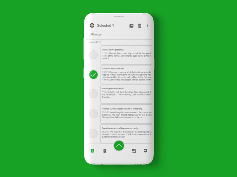 Evernote Android App | Redesign delete selected select box selection white profile options new mockup menu design menu evernote design buttons android app android account