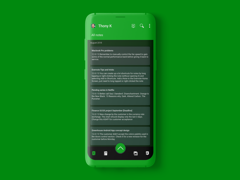 Evernote Android App | Dark theme by Thony on Dribbble
