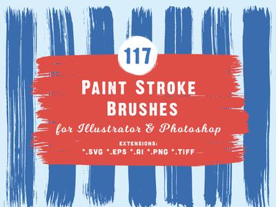 117 Paint Stroke Brushes Header Behance