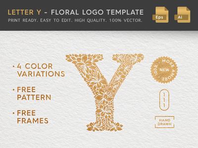 Floral Letter Y Logo