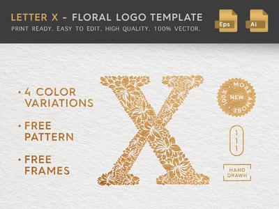 Floral Letter X Logo