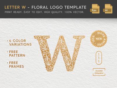 Floral Letter W Logo