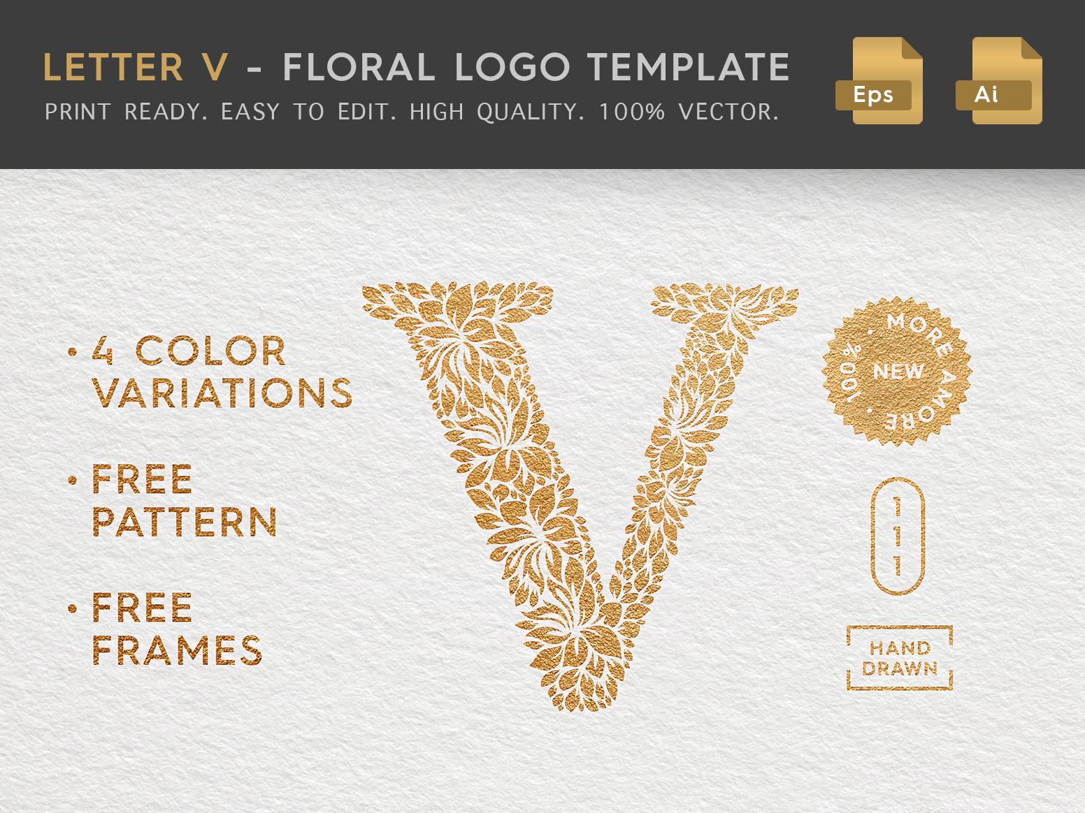 Floral Letter V Logo label beauty logo brand florist hand drawn logo eps logo vector logo delicate hand drawn illustration stationery sign logo template feminine logo female logo logo design floral logo letter logo letter x