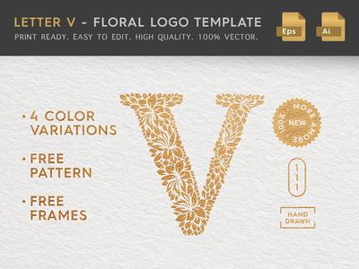 Floral Letter V Logo