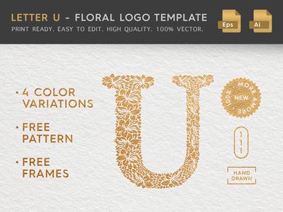 Floral Letter U Logo