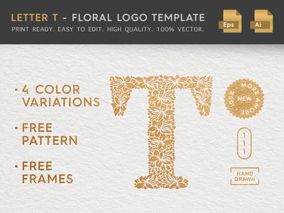 Floral Letter T Logo