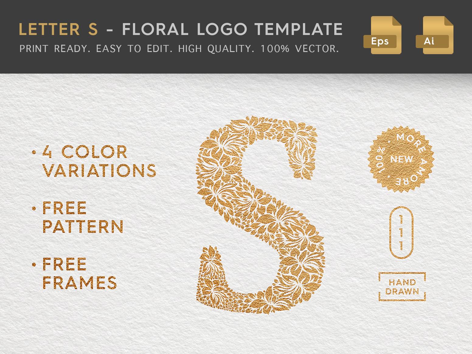Floral Letter S Logo label beauty logo brand florist hand drawn logo eps logo vector logo delicate hand drawn illustration stationery sign logo template feminine logo female logo logo design floral logo letter logo letter t