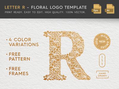Floral Letter R Logo