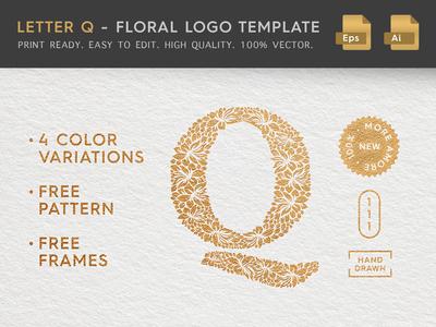 Floral Letter Q Logo