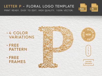 Floral Letter P Logo