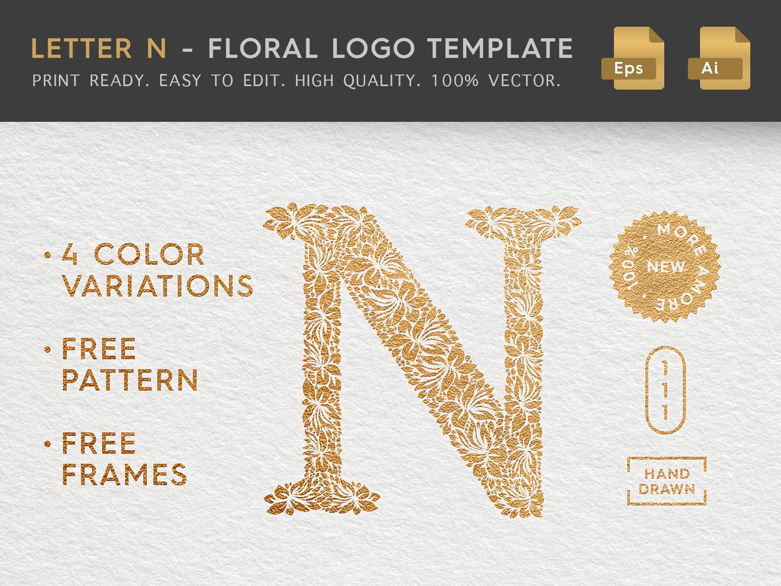Floral letter n logo behance header