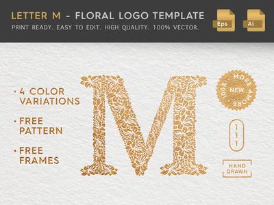 Floral Letter M Logo