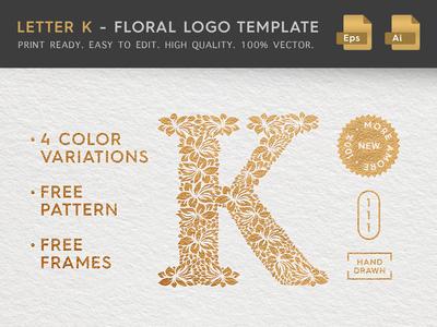 Floral Letter K Logo
