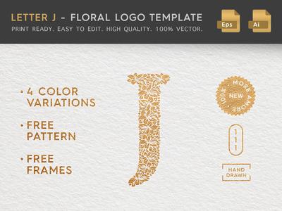 Floral Letter J Logo